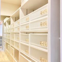 自然素材の家/別荘/ウォークインクローゼット 収納/納戸収納/造り付け収納/無印良品/... サニタリーコーナーと寝室に隣接したウォー…