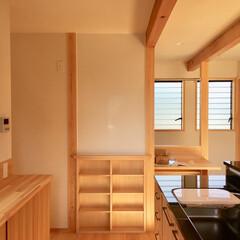 自然素材の家/ソーラーシステムそよ風/2階リビング/御影石キッチン/造り付けキッチン/造作キッチン/... 2階リビングのソーラーシステムそよ風の自…