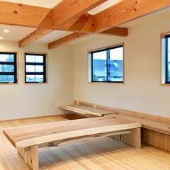 自然素材の家/2階リビング/造り付け収納/リビング収納/無垢テーブル/無垢ベンチ/... 造り付けで作成したテレビ台兼掘りごたつ式…