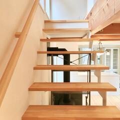 自然素材の家/ソーラーシステムそよ風/床暖房/リビング階段/階段吹き抜け/明るく風通しの良い階段/... リビング鉄骨階段です。  段板の踏面の奥…