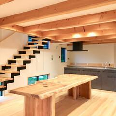 自然素材の家/ソーラーシステムそよ風/土間リビング/土間吹き抜け/薪ストーブ/アイランドキッチン/... 土間に薪ストーブがある自然素材の家のLD…
