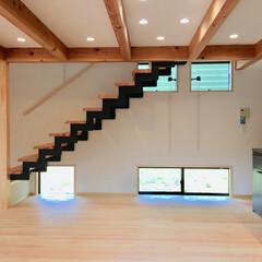 自然素材の家/ソーラーシステムそよ風/薪ストーブ/土間/ウォークインクローゼット/アイランドキッチン/... 土間に薪ストーブがあるソーラーシステムの…