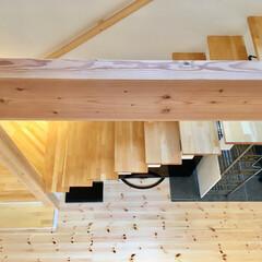 吹き抜け/自然素材の家/ソーラーシステムそよ風/リビング階段/薪ストーブ/リビング/... 2階ホールから見た階段吹き抜けです。  …