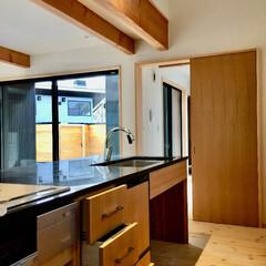 キッチン/台所/対面式キッチン/御影石キッチン/造作キッチン/造り付けキッチン/... 天然御影石天板カウンターの造り付けで作成…