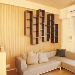 TV収納棚/壁面飾り棚/本棚/机/飾り棚 マンションモデルルームの家具を製作させて…