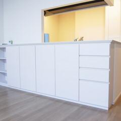 カウンター下収納/収納棚/木目 カウンター下収納を製作しました。