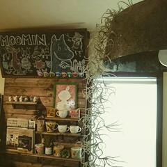 廃材照明器具/ダイニング/ダイニングキッチン/マグネット塗料/黒板塗料/チョークアート/... 廃材で作られたライトと嫁さん直筆チョーク…