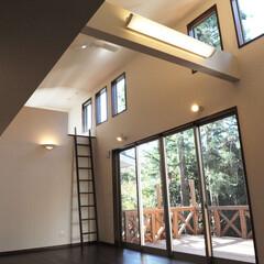 住まい/建築/リビング/ロフト/書斎/平屋/... H邸 リビング 天井を低く抑えた納戸の上…