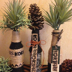 diy201604/瓶/麻ヒモ/ロゴ/グリーン/花瓶/... ハイネケンの🍺瓶を 麻ヒモ&手作りハンコ…