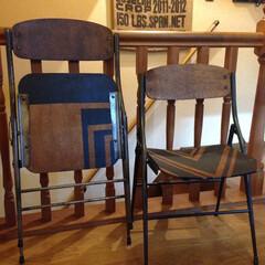 diy201604/椅子 /リビング/塗り替え 元は会社の会議室に あったボロボロの捨て…