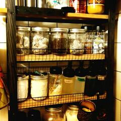 メイソンジャー/バーベキュー網/SPF材/角材/スパイスラック/100均/... 普段使う調味料やコーヒー、お茶、お米など…