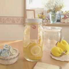 かぎ針編みの小花/レモンシロップ/キッチン雑貨/雑貨/住まい/暮らし レモンシロップ🍋作りました❤️