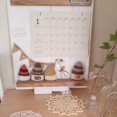 かぎ針編みのモチーフ/かぎ針編みの小さいおうち/まほさんのカレンダー/朝のダイニング/インテリア/雑貨/... まほさんのカレンダーと勝手にコラボ💓  …