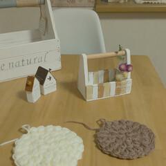 かぎ針編み/アクリルたわし/雑貨/ハンドメイド/住まい/暮らし アクリルたわしの練習です✨