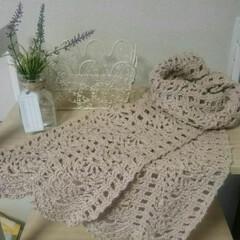 かぎ針編み/ハンドメイド 日焼け予防の為の首巻きです😊 去年編みか…