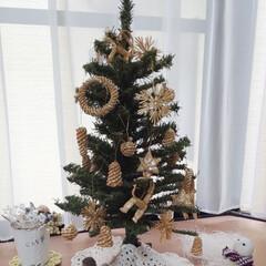 ナチュラルインテリア/手作り雪だるま/かぎ針編みのモチーフ/クリスマス/クリスマスツリー/ハンドメイド/... 右隅の雪だるまくん⛄️が主役です💕  嬉…
