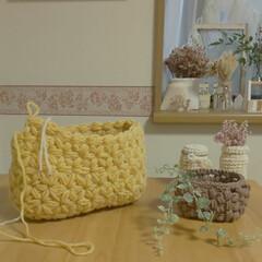 かぎ針編みの小物/かぎ針編み/リフ編み/玉編みの小物入れ/雑貨/ハンドメイド/... 玉編みの小さい小物入れです✨  リフ編み…