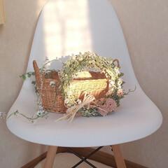 イームズチェア/フェイクグリーンリース/夏インテリア/インテリア 白い椅子とリース💞  朝の強い陽射しが入…