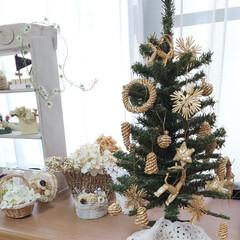 出窓のある暮らし/クリスマス/クリスマスツリー/ダイソー/セリア/インテリア ツリースカートがないのでモチーフを被せて…