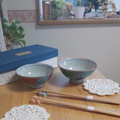 夫婦茶碗/ダイニングテーブル/キッチン/キッチン雑貨 あんこ🐶さん✨ このお茶碗です😊  すっ…