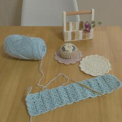 かぎ針編み/雑貨/ハンドメイド/住まい/暮らし 編み編みの途中経過です✨