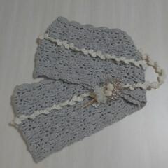 かぎ針編み/かぎ針編みのスヌード/ナチュラルインテリア/ハンドメイド/インテリア/ファッション かぎ針編みのスヌードです✨  白いラリエ…