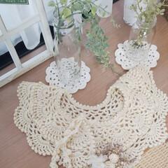 かぎ針編みの付け衿/かぎ針編み/空き瓶再利用/ナチュラルインテリア/手芸/雑貨/... 昨冬に編んだ、付け衿です✨   可愛いす…