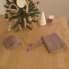 ナチュラルクリスマス/リミアの冬暮らし/我が家のテーブル/リミアな暮らし/雑貨/ハンドメイド/... しろくまとツリー✨🎄✨です😊  編み編み…(2枚目)