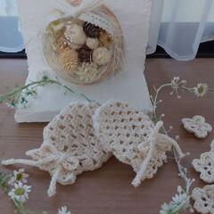 出窓のある暮らし/かぎ針編みのベビーミトン/かぎ針編み/手芸/インテリア/ハンドメイド ミトンを編みました✨