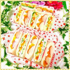 ランチ/サンドイッチ/愛妻弁当/娘弁当/お弁当/いちご/... ❤︎パパちゃんと中1娘ちゃんのお弁当❤︎