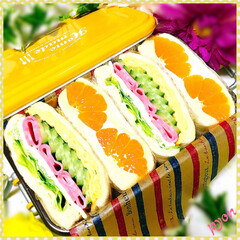 サンドイッチ弁当/フルーツサンド/娘弁当/お弁当 中2娘ちゃんのお弁当♡(❊´︶`❊)