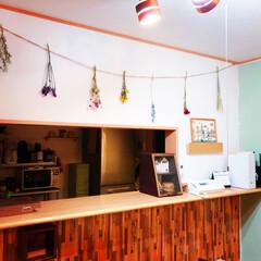 アクセントカラー/壁紙/DIY/ドライフラワー/ガーランド ドライフラワーをガーランドにして飾りまし…