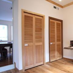 収納扉/折戸/木製/ドア ルーバーの扉は通気性を必要とする収納スペ…