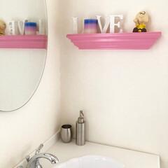 壁掛け棚/収納/モールディング/洗面所 ポップな雰囲気のピンク、ミレニアムピンク…