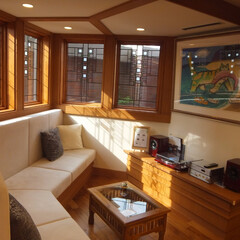 木製サッシ/アートガラス/住まい/海外/フランクロイドライト 米国窓メーカー「アンダーセン」のフランク…