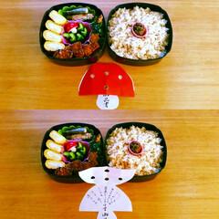 きのこ/おべんとう/お品書き/フキ味噌/玄米 ターシャンのお弁当・・・ キノコ型のラデ…