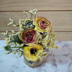 お花のある暮らし/雑貨/100均/キャンドゥ 朝 寄り道した 産直のお店で 黄色のラナ…