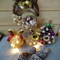 クリスマス/クリスマスツリー/ハンドメイド/雑貨/100均/ダイソー/... 前からあったリースを リメイクしてみまし…(2枚目)