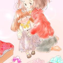 お絵描き/携帯アプリ/趣味/イラスト 以前描いたイラスト。 お人形遊びをする女…