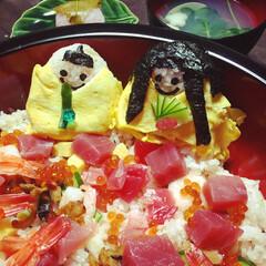 お雛様おにぎり/ちらし寿司/ひな祭り/フード/グルメ ひな祭りは毎年恒例ちらし寿司お雛様おにぎ…