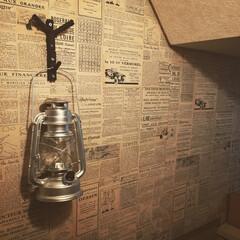 LEDランタン/小枝フック/DIY/100均/セリア/インテリア/... トイレ から失礼します。 オーバーオール…