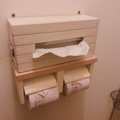 すのこDIY/ペーパータオル/セリア/ペーパータオルホルダー/トイレ/雑貨/... GWの頃に作った物になりますが… トイレ…