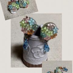 レジン/梅雨/100均/セリア/ダイソー/ファッション/... カラフル紫陽花には、雨粒をつけてみました…
