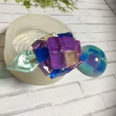 レジン/スイーツ/雑貨/100均/セリア/ダイソー/... 紫陽花という和菓子を真似て作ってみたので…