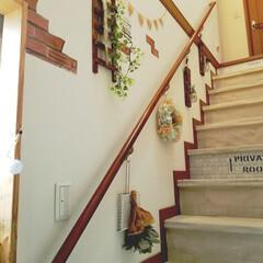 フェイクグリーン/ステンシル/インテリア/壁紙/階段/ダイソー/... 我が家は玄関を入ると 階段が丸見えです …