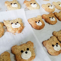 友チョコ/バレンタイン/くまさんクッキー/お菓子作り/娘と/わたしのごはん/... バレンタイン当日は試験と 重なってしまっ…