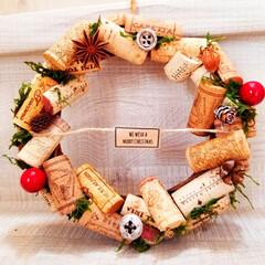 クリスマス/リース/コルク/ダイソー/100均/フォロー大歓迎 やりたかったこと①  コルクリースを作り…