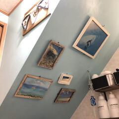 壁面ディスプレイ/海フォト/階段下/斜め壁面/フォロー大歓迎/雑貨/... 我が家の脱衣所は階段下  階段下はビーチ…