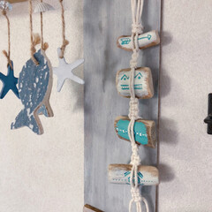 壁面ディスプレイ/マクラメ/流木リメイク/流木/インテリア/ハンドメイド ミニ流木を使って 雑貨をハンドメイドしま…