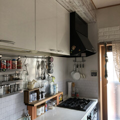 naturalkitchen/DULTON/nikoand/キッチン/キッチン雑貨/雑貨/... 我が家のキッチン  吊り戸棚をリメイクシ…